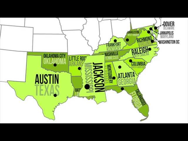 Southern States MapQuiz Printout EnchantedLearningcom Geography - Southern us map with states and capitals