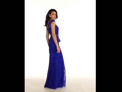 Shop MarlasFashions.com for long, lace, royal blue bridesmaid dresses