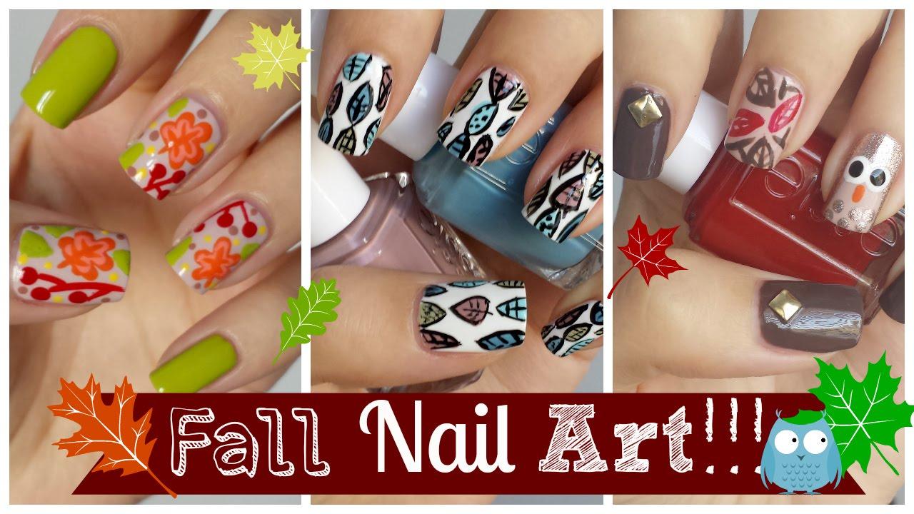 fall nail art three easy tutorials