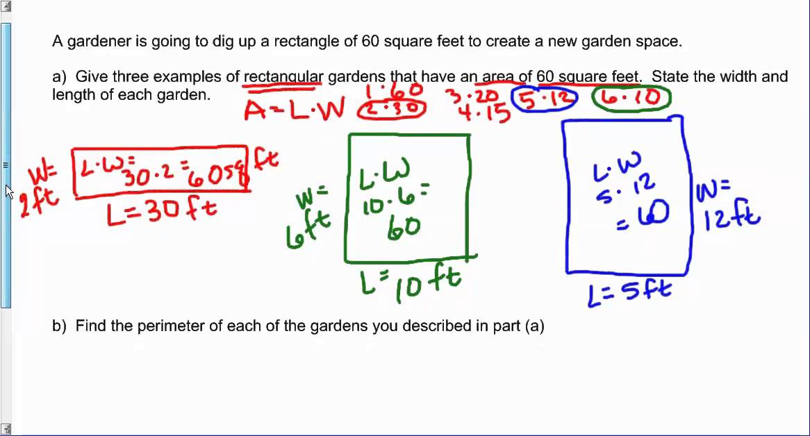 Find three examples of a rectangle with an area of 60 for Find sq footage