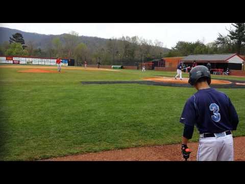 Tanner Revis at bat Enka Baseball Dirtbags 2014