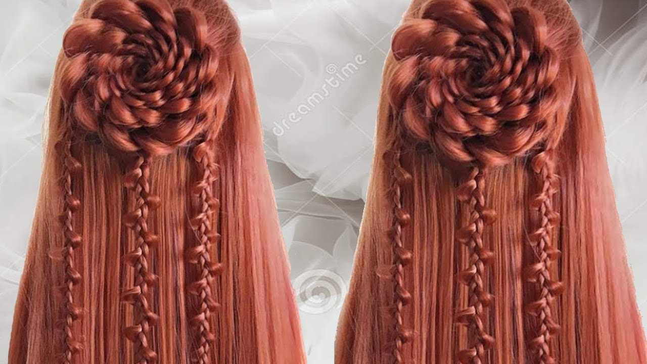 Rose Flower Braided Hairstyles | latest Braided Hairstyles for girls | inspired by kashee's ...