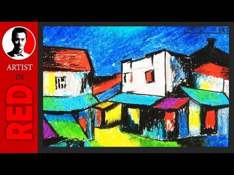How To Draw Colorful Old Houses with Oil Pastels ⦿ Artist in Red