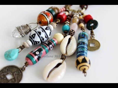 Hippie Beach Style Necklace Tribal Style Jewerly Pendant And Leather Cord
