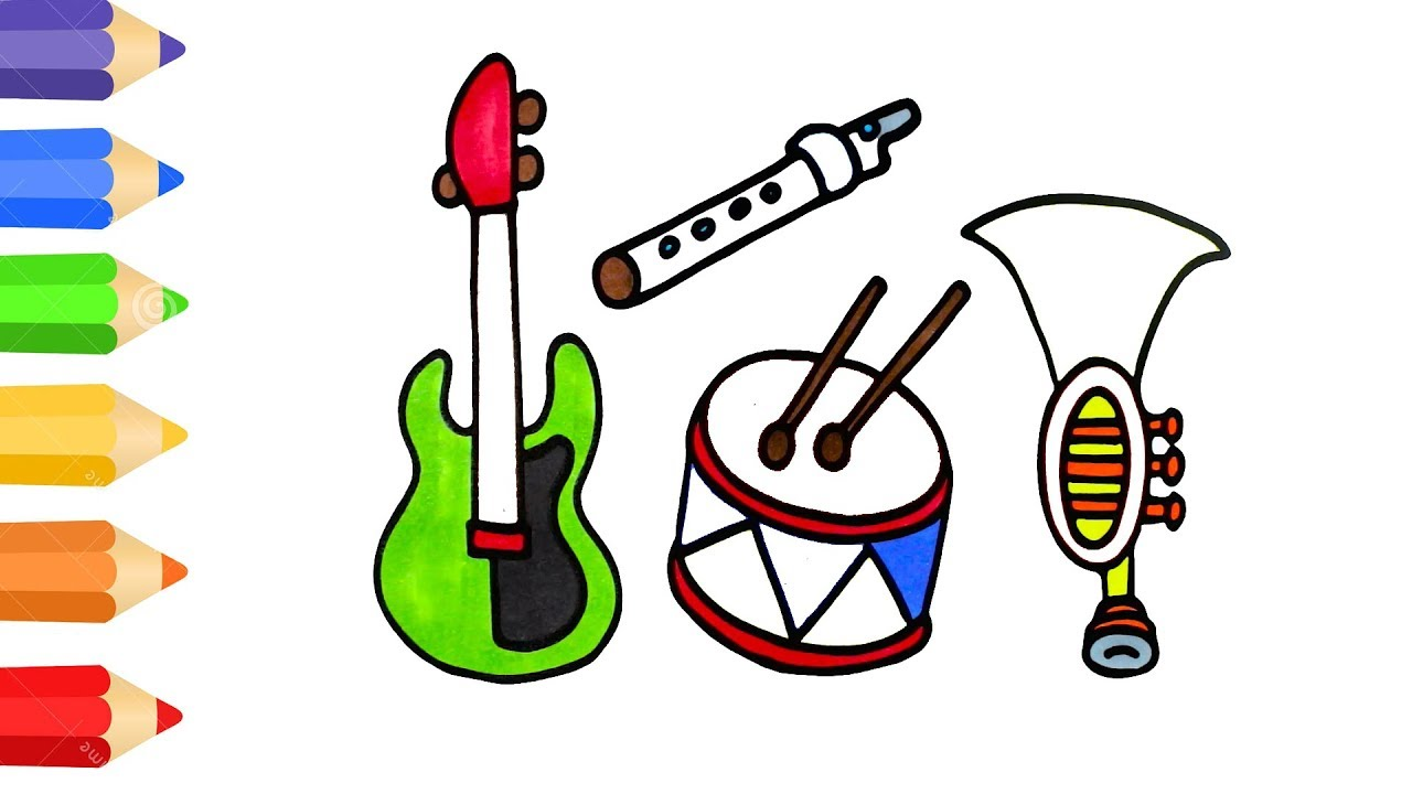 how to draw musical instrument coloring pages for kids art colour