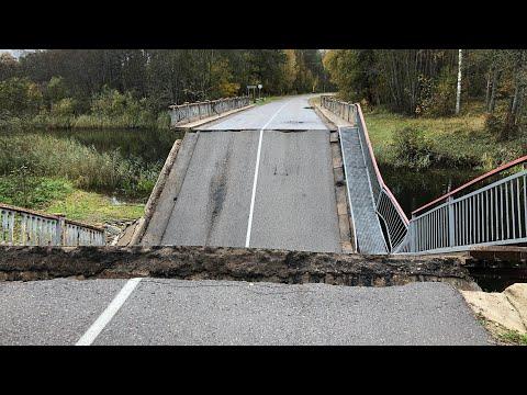 Обрушение моста через реку Ливица г Пустошка Псковской области Проезд закрыт! Обрушился мост