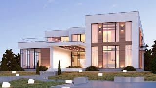 Проект дома в стиле хай тек. Дом с сауной, бассейном, террасой и вторым светом. Ремстройсервис М-285