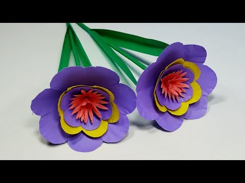 How to Make Easy Paper Stick Flower!! Decoration Flower Making Idea   Jarine's Crafty Creation