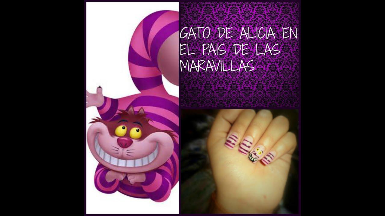 Diseño de uñas inspirado en el gato de Alicia en el pais de las ...