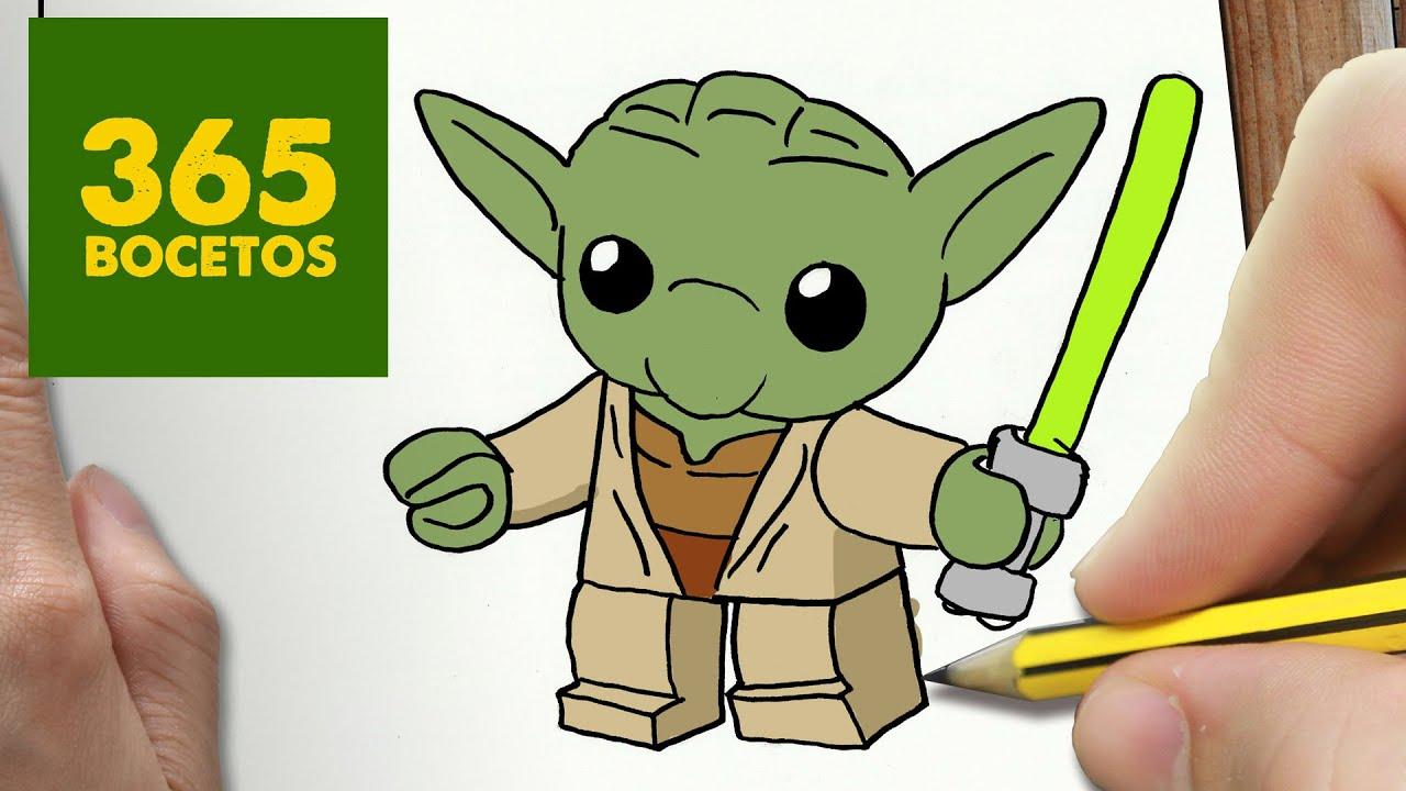 COMO DIBUJAR YODA LEGO KAWAII PASO A PASO  Dibujos kawaii faciles
