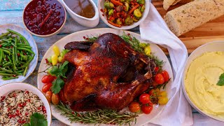 EASY THANKSGIVING FEAST  TURKEY  POTATOES  GREEN BEANS  WILD RICE  BRUSSEL SPROUTS  GRAVY
