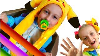 Eva pretends to play with Tawaki kids