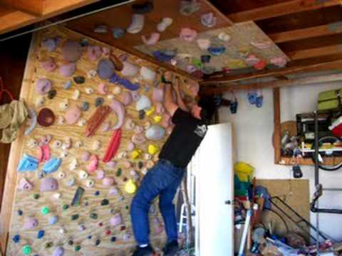 Indoor Garage Climbing Wall A little campus move YouTube