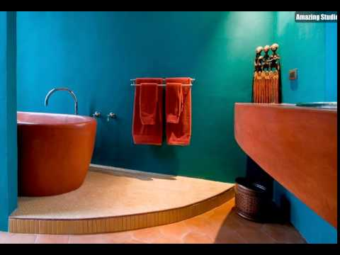modernen mexikanischen stil badezimmer im khlen trkis und orange - Moderne Badezimmer Trkis