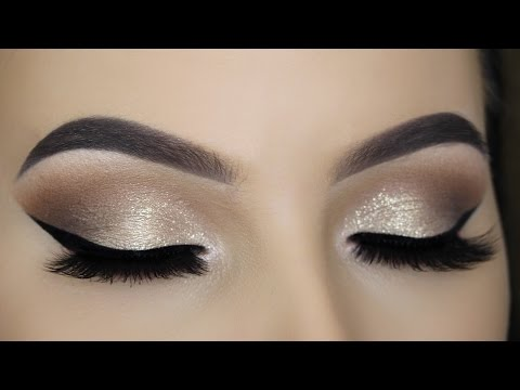 Soft Gold Glitter Eye Makeup Tutorial