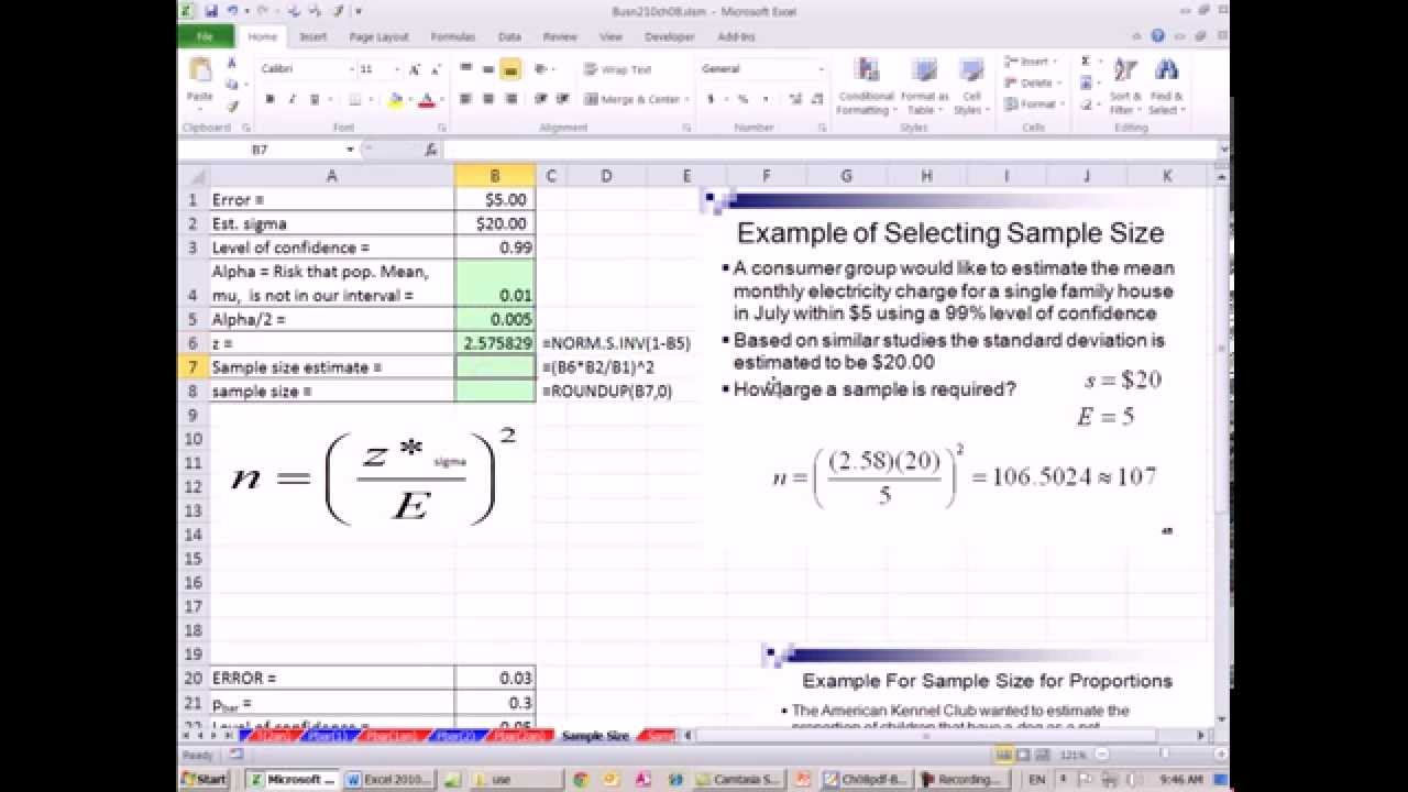Excel 2013 Statistical Analysis #52: Determine Sample Size for ...