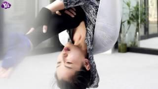 劉濤頭朝下練習空中瑜伽柔韌度好 高難度動作不在話下