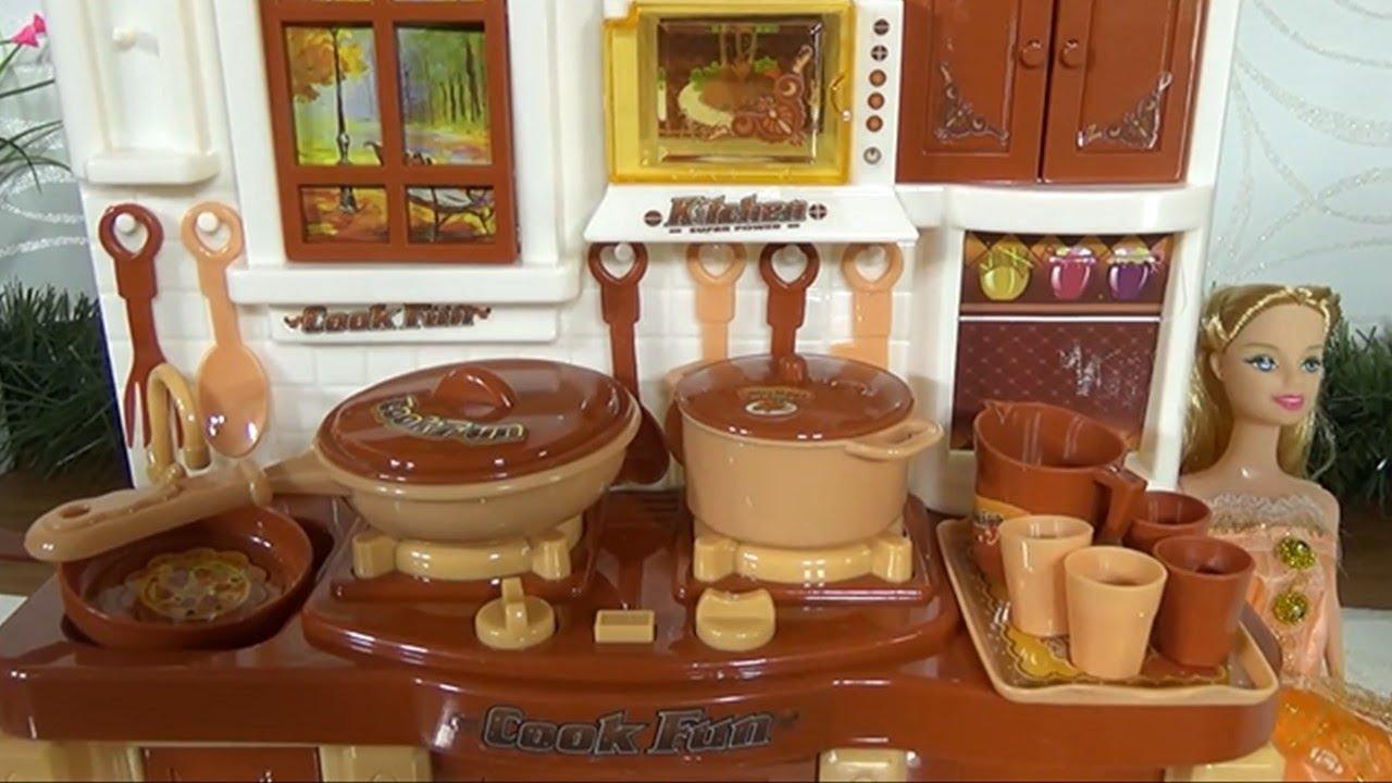 Barbie Mini Kitchen Play Set With Kitchen Utensils Youtube