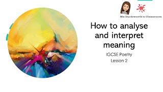 Analysis and interpretation: Poetry