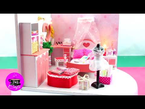 Cute Bedroom, DIY Dollhouse Kit With Working Lights