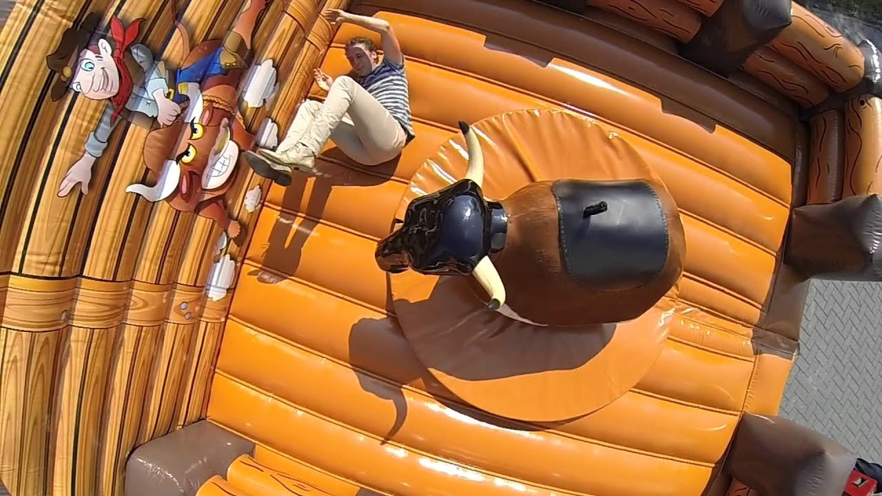 mechanical bull riding with inflatable bed