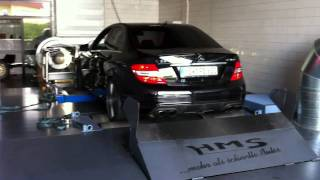 C63 AMG dyno run BRUTAL SOUND!! Decatted Backfire!