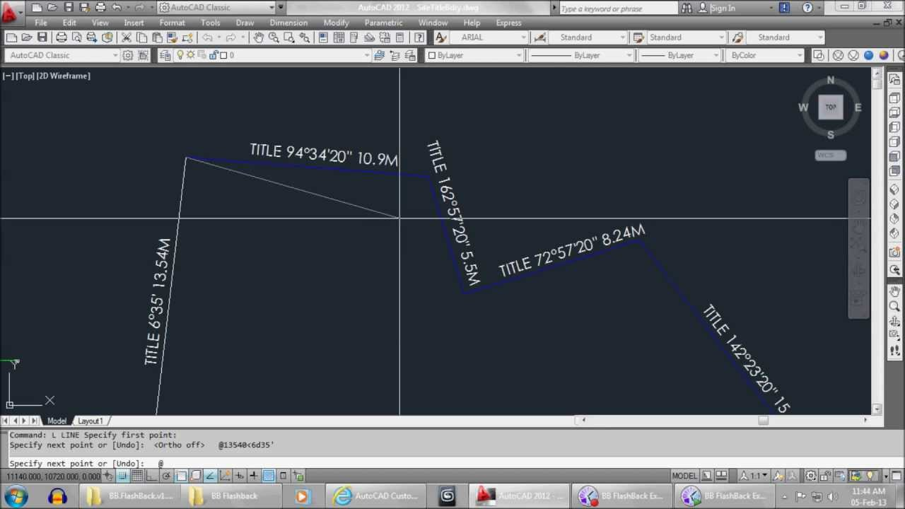 Drawing Lines With Angles In Autocad : Autocad tutorial how to draw site title boundary youtube