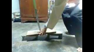 Test Katana Sword With Wood Bar 2cm Thickness By Prince Katana / Aon Sport