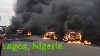 Otedola bridge (Ibadan express way)  fire explosion, Lagos Nigeria