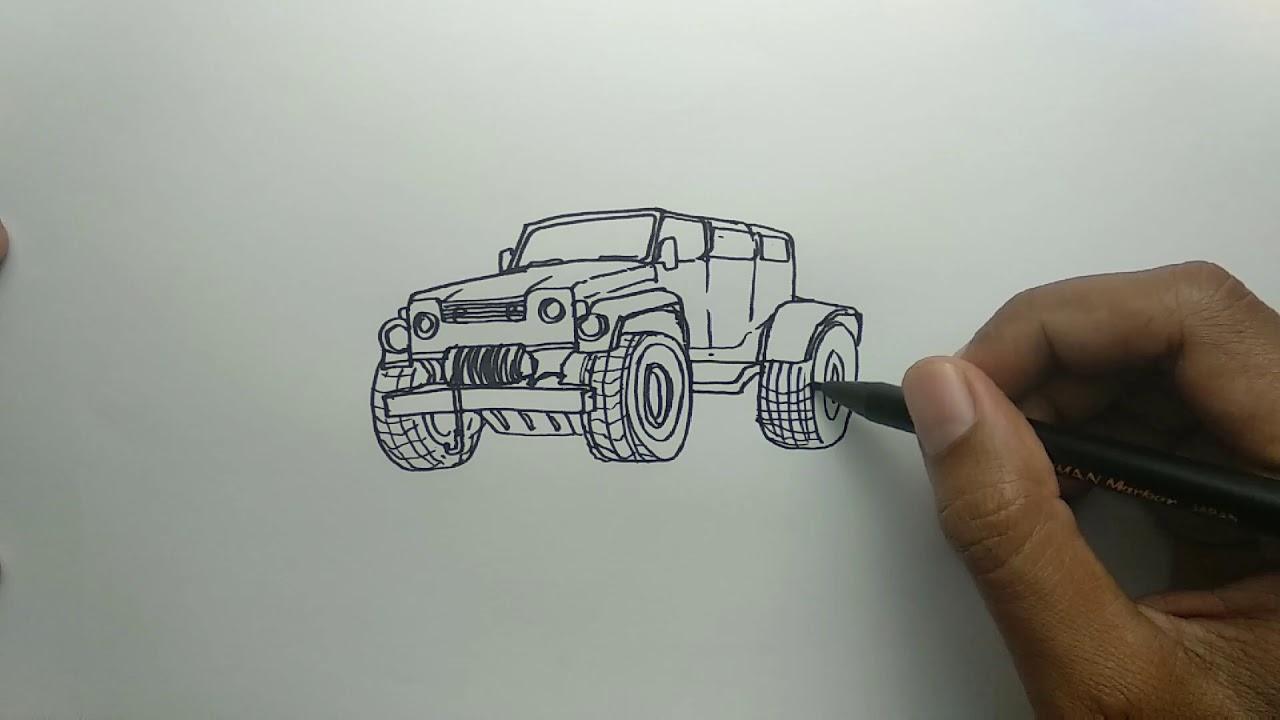 Cara Menggambar Mobil Jeep Dari Kata Jeep Youtube