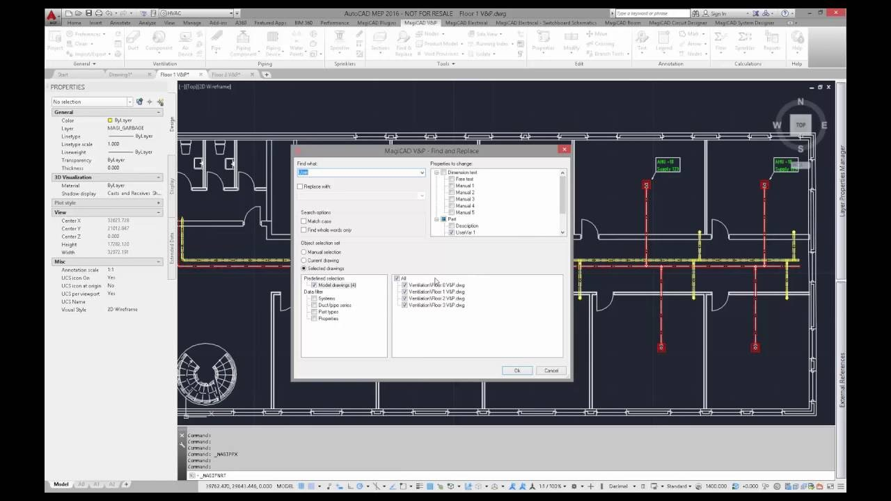 MagiCAD 2016 11 for AutoCAD top new feature - Find and Replace tool for  text objects and parameters