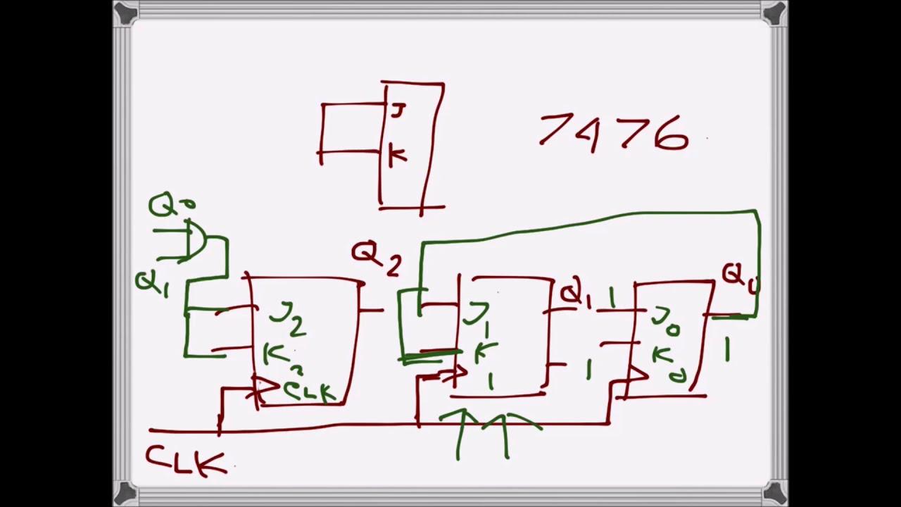 digital electronics: mod 6 counter with t ( jk) flip flop