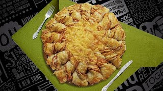 Солнечный пирог с колбасой и сыром: ням-ням за полчаса!