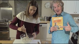 James May tries to teach Lucy one of the recipes from his book