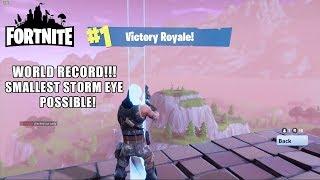 INSANE RECORD!! Fortnite Smallest Storm Eye Possible Solo WIN! [14 MINUTES]
