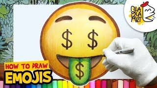 HOW TO DRAW THE MONEY MOUTH FACE EMOJI   Awesome Emoji Drawing For Kids   BLABLA ART