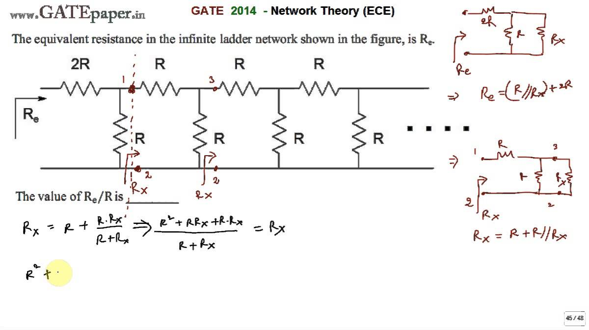 GATE 2014 ECE Equivalent resistance in the infinite ladder network shown is  Re, Find Re R