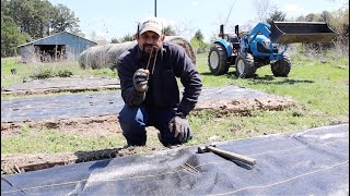 Planting ONIONS With Woven Ground Cover Fabric!
