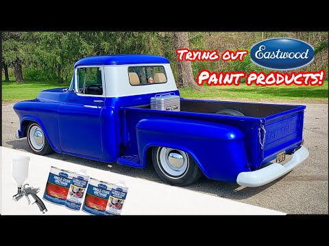 REVIEWING EASTWOODS AFFORDABLE PAINT AND PAINT GUN! SPRAYING A 1955 CHEVY SHOP TRUCK ON THE CHEAP!!!