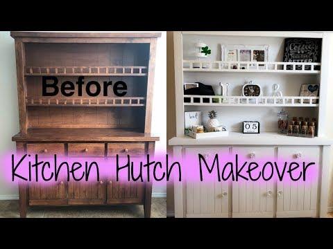 DIY Kitchen Cabinet/Kitchen Hutch Makeover With Chalk Paint