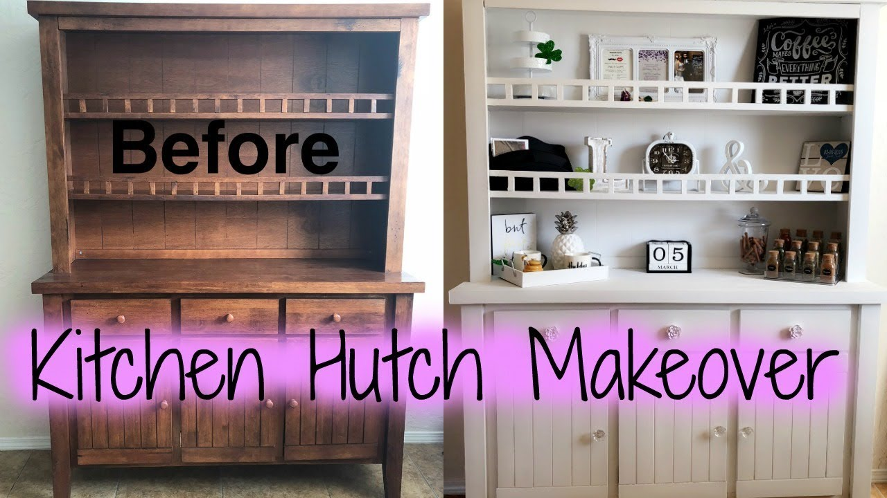 Diy Kitchen Cabinet Hutch Makeover With Chalk Paint
