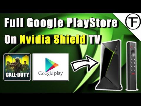 Install Google PlayStore on the Nvidia Shield TV.