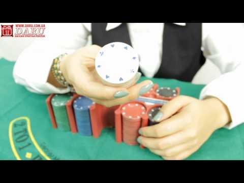 Покерный набор 200 фишек. Набор для игры в покер в комплекте  с подставкой для фишек.