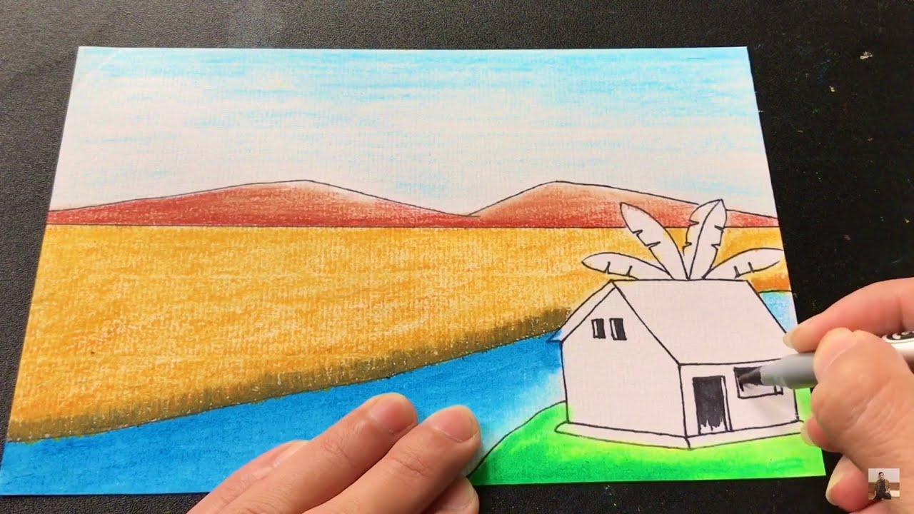 Vẽ tranh đề tài phong cảnh ĐƠN GIẢN với màu sáp dầu