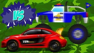 Sports Car VS Police Monster Truck | Car u0026 Truck | Race Battle | Kids Game