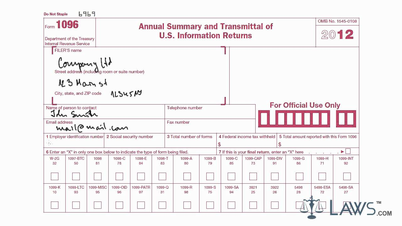 Learn How To Fill The Form 1096 Annual Summary And Transmittal Of U S Information Return