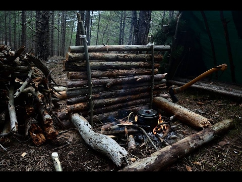 HD Bushcraft Bear Country Overnighter in Group Survival Shelter with Dog