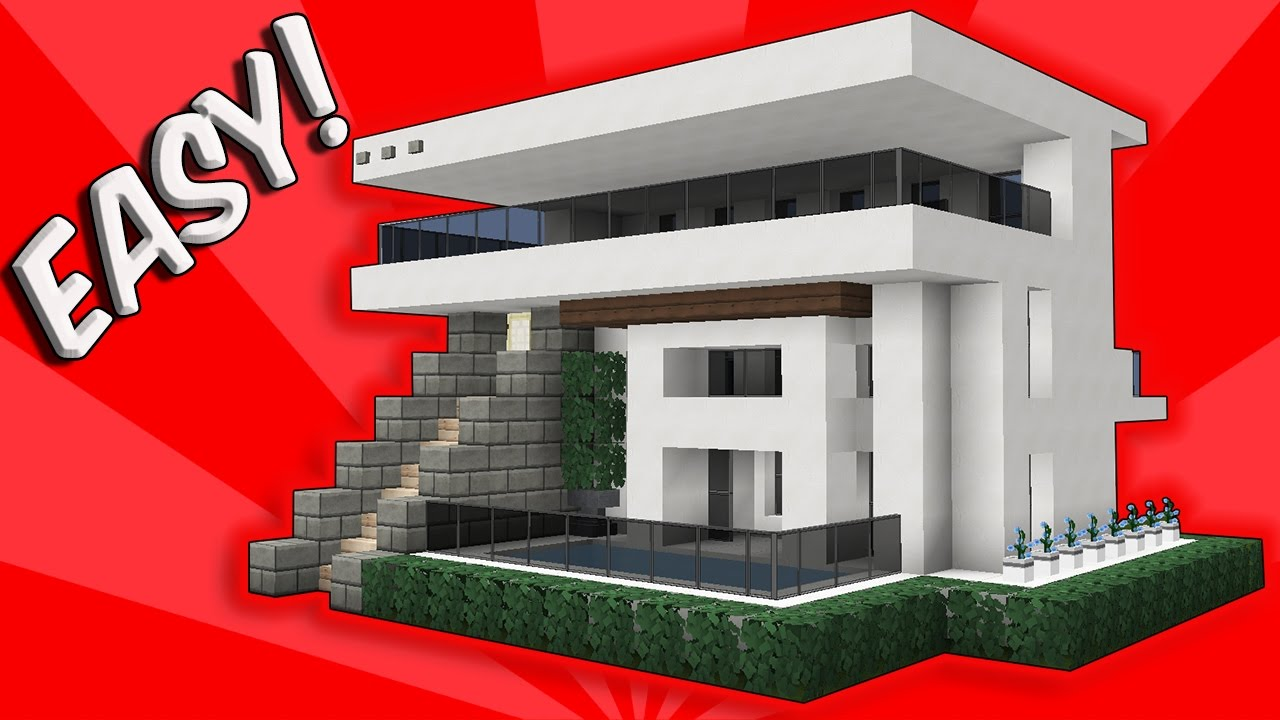 minecraft easy modern house / mansion tutorial + download - 1.8 how to make