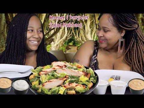 Chicken Caesar Salad Mukbang with Mother & Daughter!