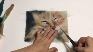 """Картины из шерсти для начинающих. Фрагмент видео-урока """"МАМА кошка"""""""